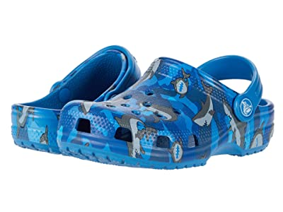 Crocs Kids Classic Shark Clog (Toddler/Little Kid) (Prep Blue) Boy