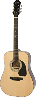 Epiphone Acoustic Guitar DR100 Right Handed Guitar - Natural With Bag, Belt, Plectrums Complete Pack.