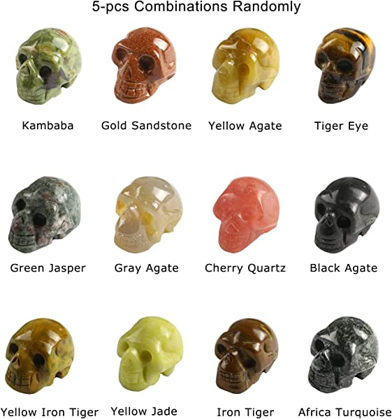1 2 Natural Hand Carved Human Skull Jewelry Head Sculpture Gemstone Carving Skull 5pcs