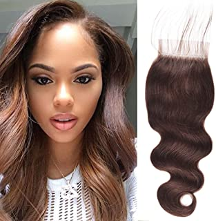 JulyQueen Brazilian 130% Density Human Hair Lace Closure Dark Brown Body Wave 4x4 Free Part Lace Frontal Closure 12Inch Color 2