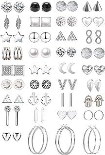 42 paires assorties multiples boucles d'oreille bijoux ensemble avec carte pour femmes filles Simple Hoop boucle d'oreille...