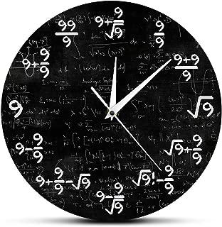 llsmting Wall Clocks for Living Room Number 9 Math Modern Clock Wall Watch Math Equation The of 9s Formulas Mathematical Wall Art Silence Acrylic Birthday Present