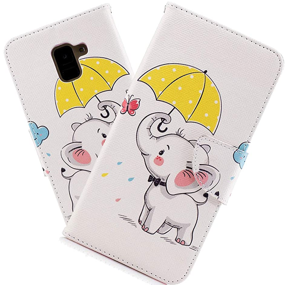 HMTECHUS A8+ 2018 Case Printing Flamingo Retro Panda Floral Wallet Folio Flip PU Leather with Stand Card Holder Slots Protect Cover for Samsung Galaxy A8 Plus 2018 SM-A730F Umbrella Dumbo BF