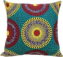 African Print Throw Pillow Case - 18 x 18 Ankara Wax Fabric Throw Pillow Cover Home Decoration (Circle, 18 x 18)