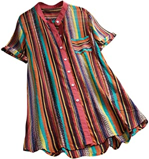 Shirts for Women Work Casual,Round Neck Flare Pullover Top Casual Plus Size Short Sleeve Striped Long T-Shirt