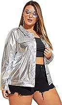 MAKEMECHIC Women's Plus Loose Button Front PU Metallic Jacket Clubwear