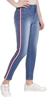 Lady Stark Women's Wear Classic Blue Jeans with Red and White Lace