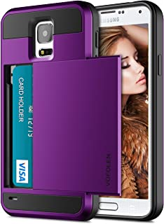 Vofolen Case for Galaxy S5 Case Hybrid Cover Galaxy S5 Wallet Case Shock Absorption Rubber Soft Bumper Armor Anti-Scratch Protective Shell with Slide Card Holder Slot for Samsung Galaxy S5 (Purple)