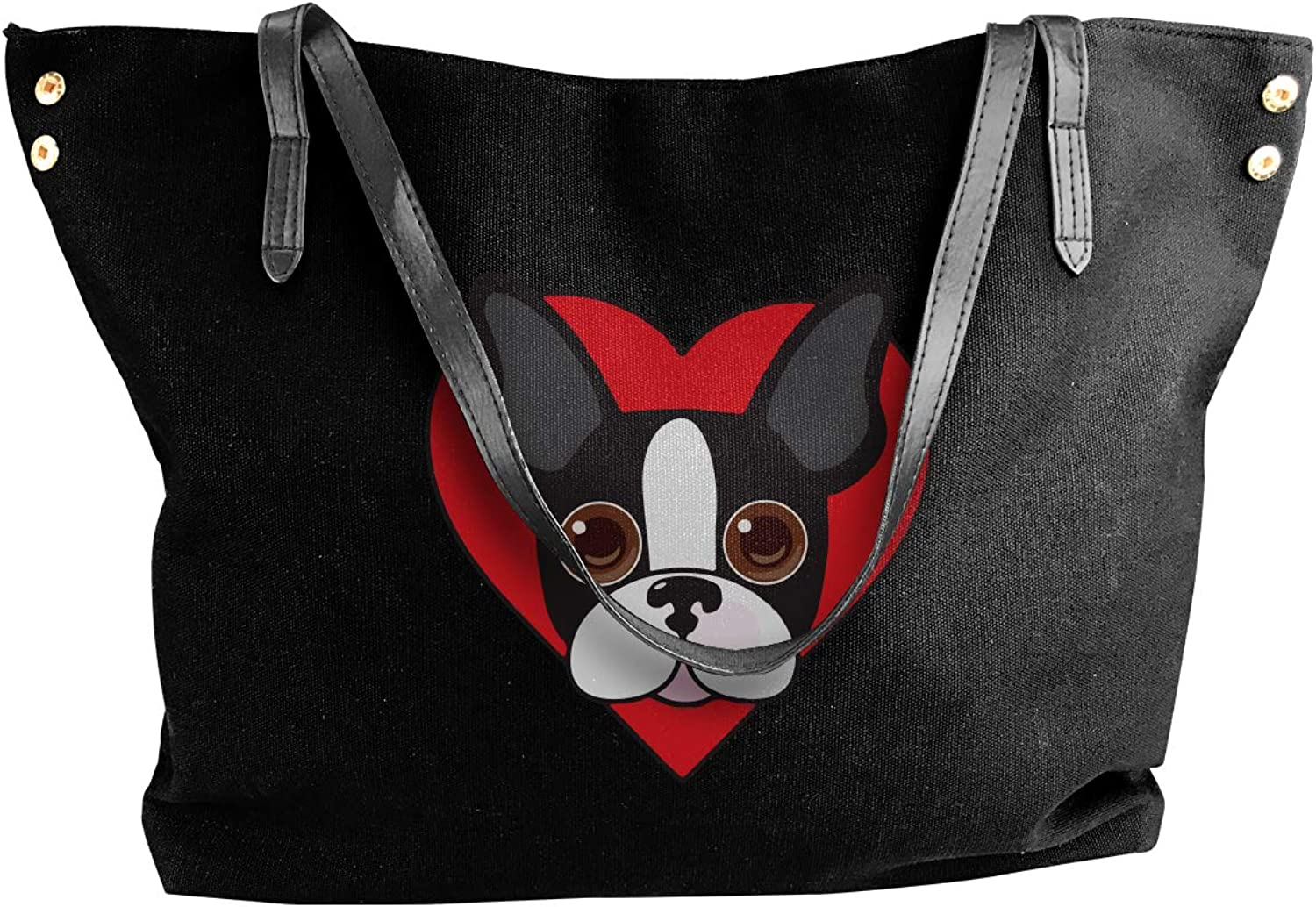 Boston Terrier Face Women'S Recreation Canvas Handbag For Shopping Big Shopping Bag