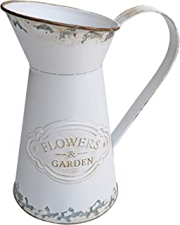 HyFanStr Shabby Chic Vase White Metal Pitcher Mini Vase Rustic Pitcher Primitive Jug Milk Can Flower Holder