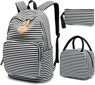 School Backpack for Girls, BLUBOON Canvas Bookbag College Laptop Rucksack Women Ladies Travel Daypack Lunch Box Bag Pencil Case (Black White Stripe)