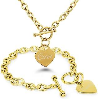Creer Chapado en Oro Acero inoxidable Corazón Grabado Encanto Pulsera y Collar