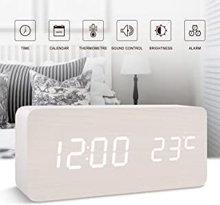 GO HAND Clocks for Digital LED Wooden Alarm Clock Desktop Electronic Snooze Travel Home Modern Fashion Calendar Displays Date Time Temperature with Voice Control Features (White Wood White Light)
