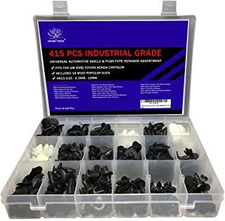 AROMA TREES 415 Pcs Industrial Grade Universal Automotive Shield and Push-Type Retainer Assortment Suitable for Toyota, Honda, GM, Ford, and Chrysler
