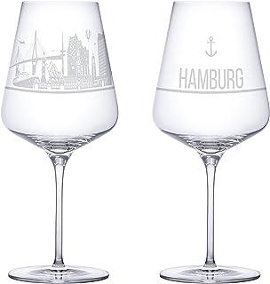 I LOVE Hamburg Weingläser 2er Set | Weinglas mit Gravur der