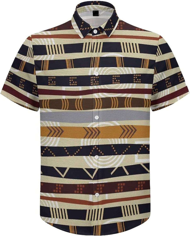 Mens Button Down Shirt Vintage Indian Tribal Line Casual Summer Beach Shirts Tops