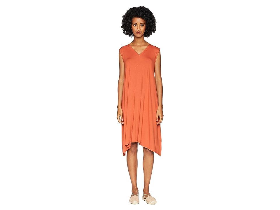 Eileen Fisher Lightweight Viscose Jersey V-Neck Dress (Orange Pekoe) Women
