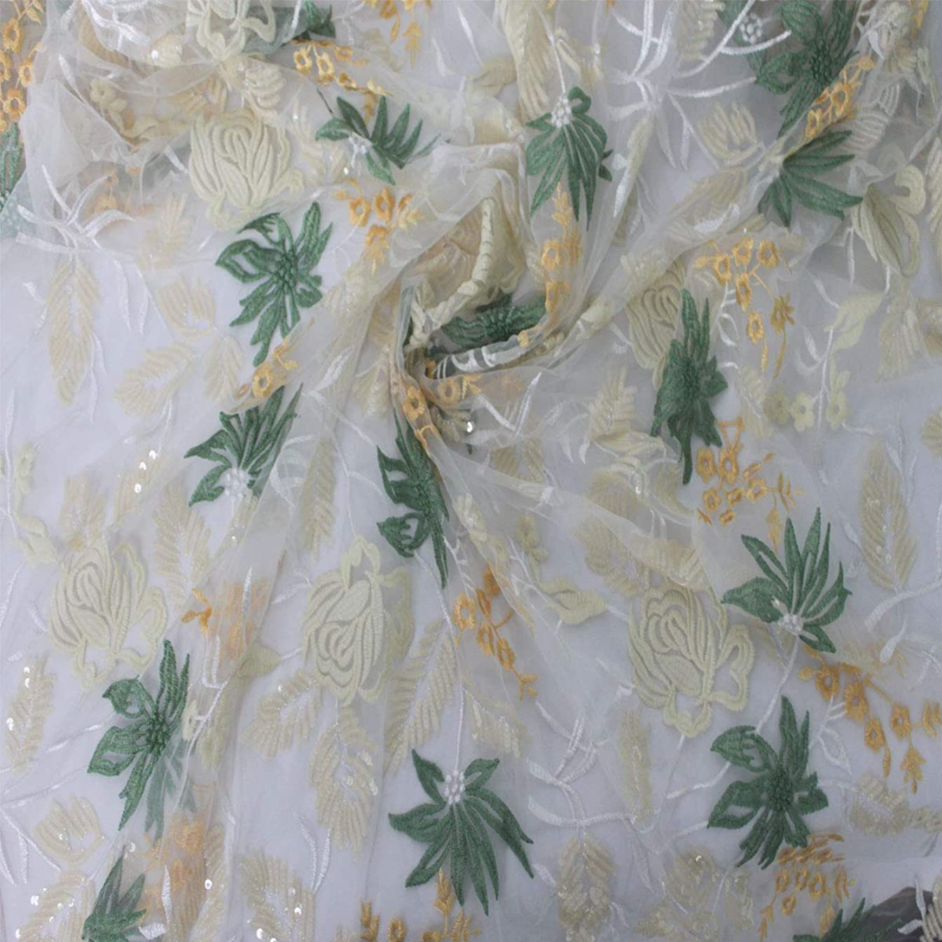 Lacerain 5 Yards African Net Lace Fabrics Nigerian French Fabric Embroidery Lace(White)