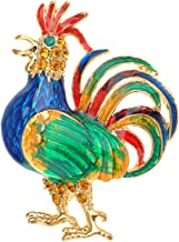 Alilang Golden Tone Light Colored Rhinestones Chicken Rooster Hen Brooch Pin
