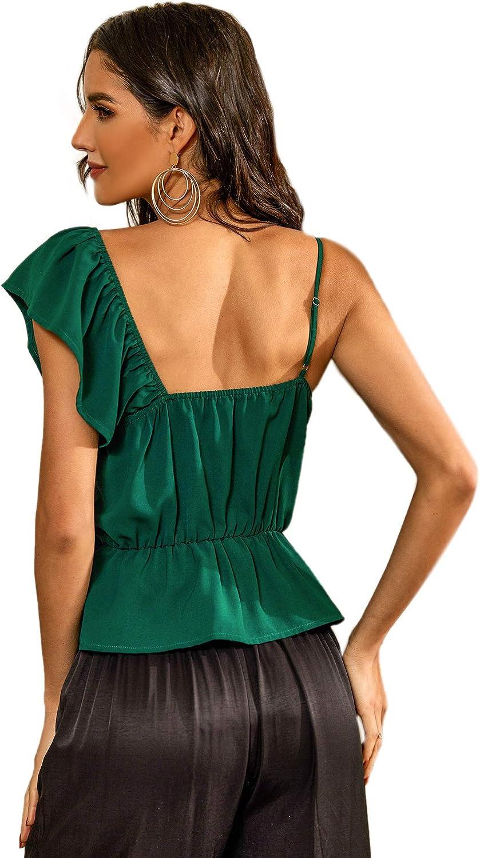 SweatyRocks Women's Ruffle Trim Sleeveless Asymmetrical Neck Cami Tank Top