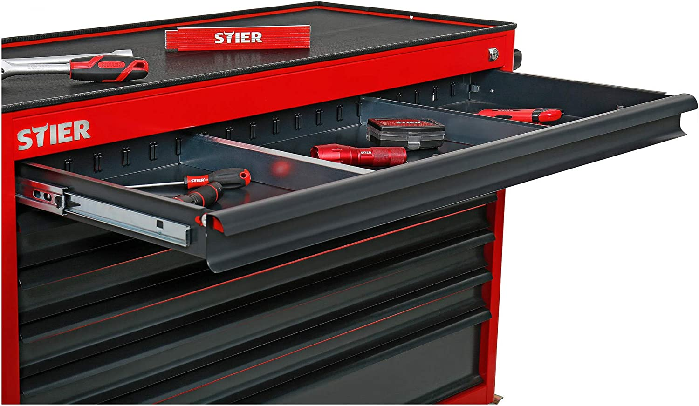 STIER Fahrbare Werkbank in Dunkelgrau 925x1120x520 mm mit 7 Schubladen und T/ür