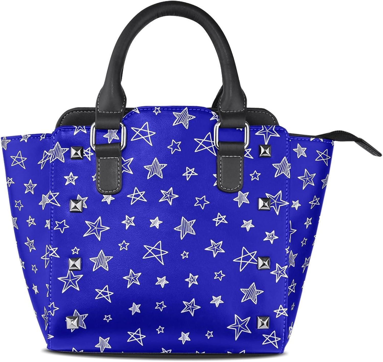 My Little Nest Women's Top Handle Satchel Handbag bluee Doodle Stars Ladies PU Leather Shoulder Bag Crossbody Bag