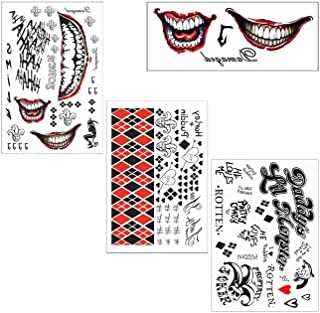 COKOHAPPY 3 Large Sheets HQ & The Joker Sticker Temporary Tattoos SS Full Body Bundle for Costume Accessories and Parties