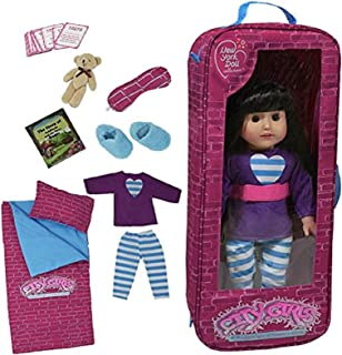 The New York Doll Collection Sleepover Bedding Travel Bag one piece set with 9 Accessories fits 18 inch/46cm American Girl...