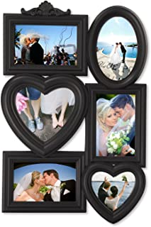 Adeco 6 Openings Decroative Black with Hearts & Ovalls Wall hanging Collage Wedding Picture Photo Frame - Made to Display Four 4x6, One 3.5x3.5, and One 6x6 Photos