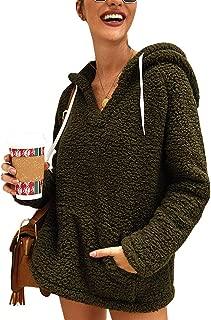 Women Winter Sweatshirts Hoodies Fleece Long Sleeves V Neck Pocket Fuzzy Pullover