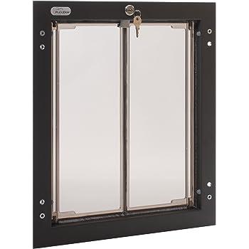 PlexiDor Performance Pet Doors for Dogs and Cats - Door Mount Dog Door with Lock and Key - Bronze, Multiple Sizes