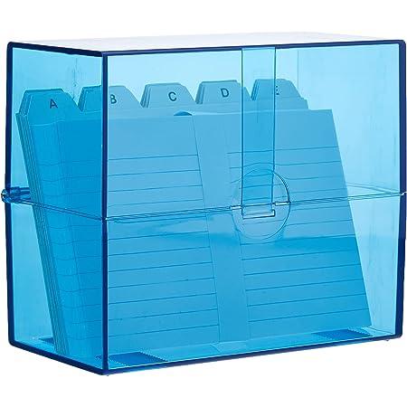Wedo 2506303 Fichier A6 avec cartes + registre alphabétique 200 cartes Transparent Bleu
