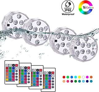 TEPENAR Submersible Led Lights - Waterproof Remote Controlled Multi Color Efx Tea Light for Lighting Up Lantern Puck Fish Tank Pool Pond - 4 Pack