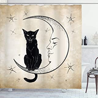 Ambesonne Moon Shower Curtain by, Black Cat Sitting on White Crescent Moon Contrasting Facial Expressions Feline, Fabric B...