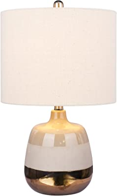 Rivet Modern Ceramic Base and Fabric Drum Shade Table Lamp with Bulb Black and White 19.25H