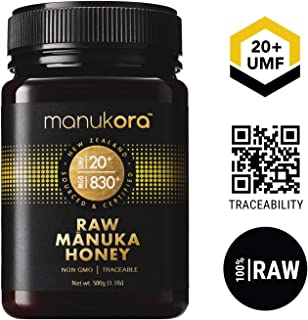 Manukora UMF 20+/MGO 830+ Raw Mānuka Honey (500g/1.1lb) Authentic Non-GMO New Zealand Honey, UMF & MGO Certified, Traceable from Hive to Hand