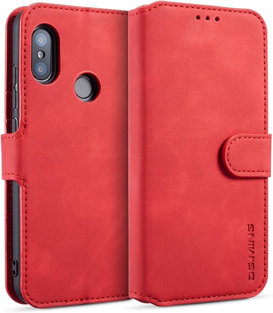 DG.MING Cuero Funda para Xiaomi Mi A2 Lite, Premium Flip Billetera Funda de Cuero [3 Ranuras para Tarjetas][Función de Soporte][Cierre magnético] Carcasa Case Cover