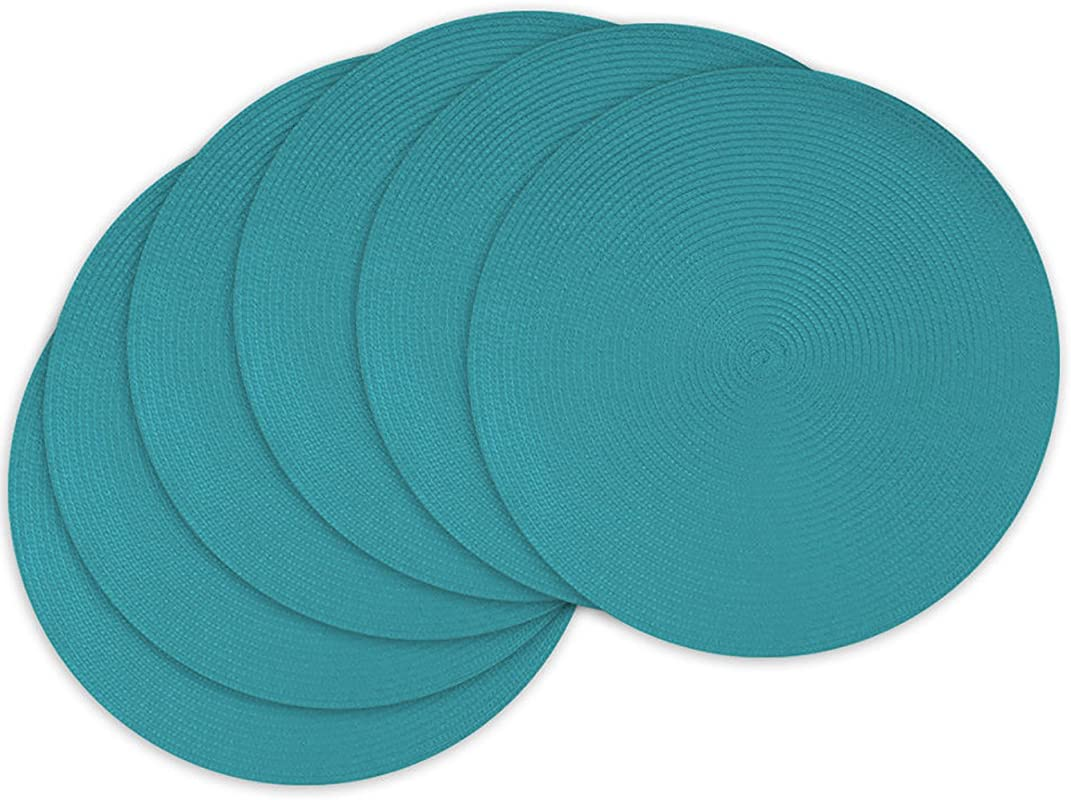 Unique Custom 15 X 15 Inch Set Pack Of 6 Round Circle Non Slip Grip Texture Large Table Placemats Made Of Flexible Synthetic Fiber W Fun Vibrant Simple Modern Decorative Design Teal Color