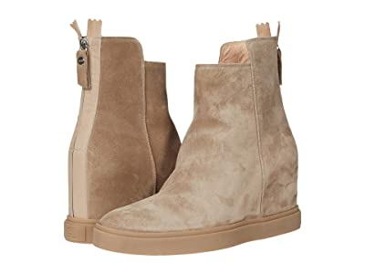 AGL Back Zip Wedge Boot (Taupe) Women