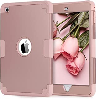 BENTOBEN Case for iPad Mini 4/ Mini 5, 3 in 1 Heavy Duty Hybrid Hard PC Soft Silicone Anti-Slip Rugged Full Body Shockproof Kids Drop Protective Cover for Mini iPad 4th/ 5th Generation 2019 Rose Gold