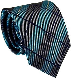 Secdtie Men's Striped Red Grey Jacquard Woven Silk Tie Microfiber Formal Necktie