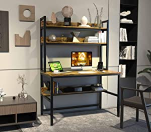 Computer Desk with Hutch and Bookshelf, Home Office Desk with Space Saving Design, Metal Legs Industrial Table with Upper Storage Shelves for Study Writing/Workstation, 47 Inches Rustic, Easy Assemble