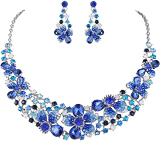 Austrian Crystal Hibiscus Flower Necklace Earrings Set
