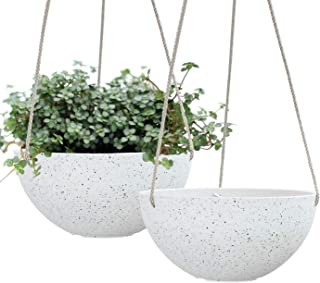 LA JOLIE MUSE Hanging Planters for Indoor Plants - Flower Pots Outdoor 10 inch Garden Planters and Pots,Speckled White Set...