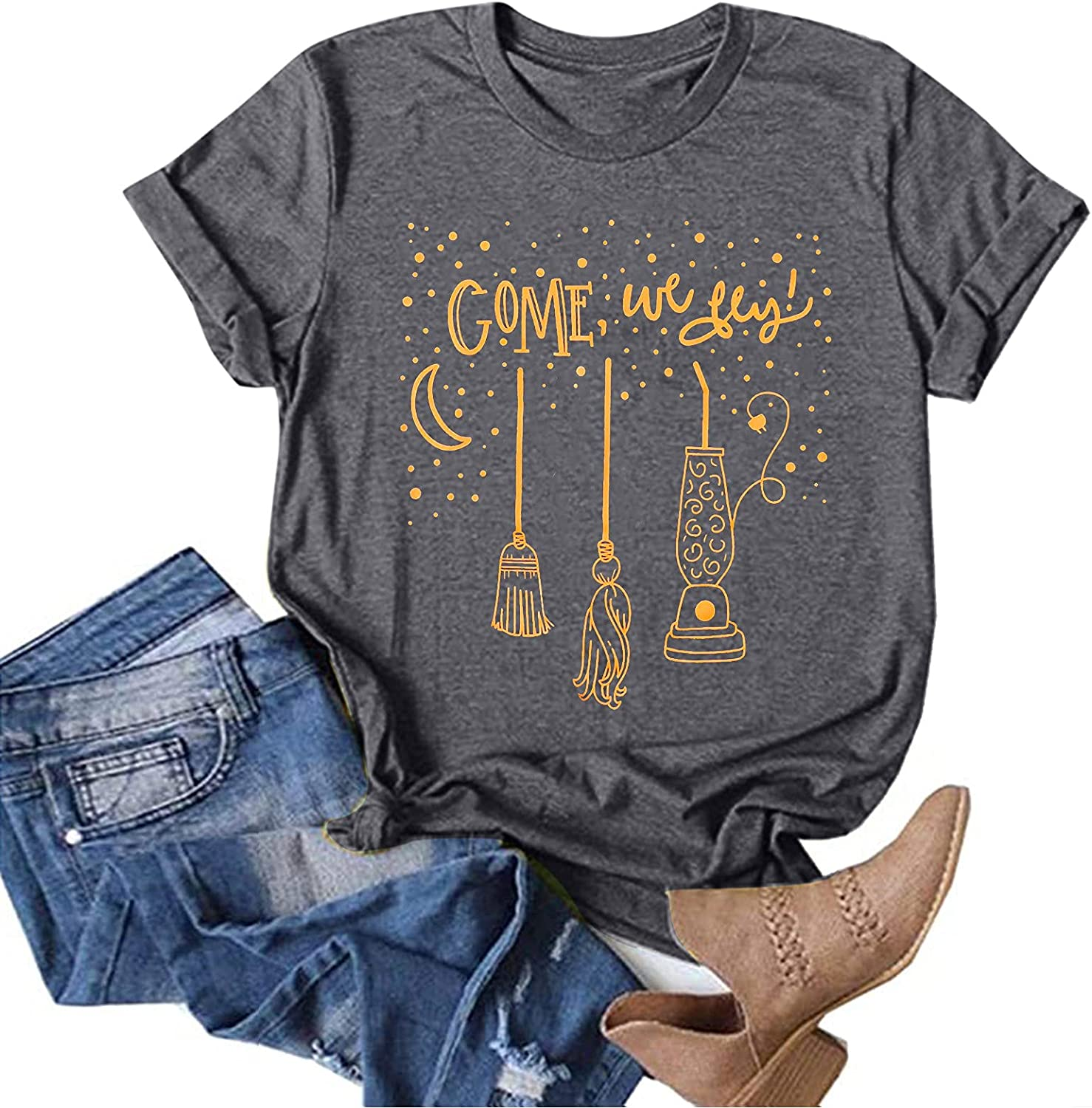 Come We 1 year warranty Fly Halloween Tshirt Funny Shirts Letter Max 60% OFF Women for Print