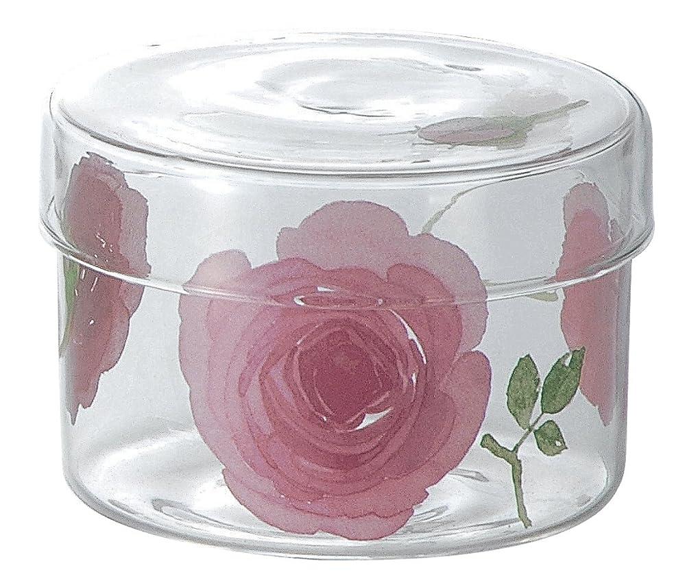晩ごはんライブ賞イングリッシュローズ 耐熱ガラス 蓋付カップ (L) ピンク 49P088