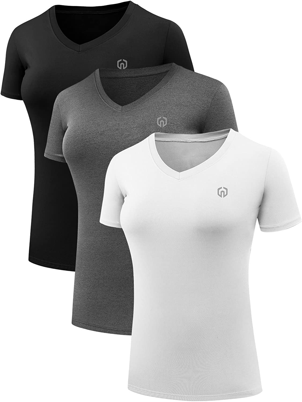Neleus Women's 3 Pack Compression Workout Athletic Shirt: Clothing