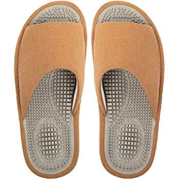 BIKINIV Reflexology & Acupressure Massage Slippers Sandals for Men & Women Home Shoes Shock Absorbing, Cushion Comfort & Arch Support for Better Health Heel (9.5-10 Women/8.5-9 Men, Camel)