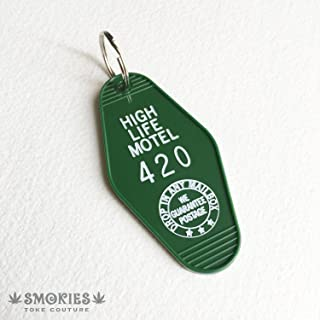 Marijuana Keychain, 420, Hotel Key Chain, Stoner Gift, Key Holder, Key Ring, Weed, HIGH LIFE MOTEL