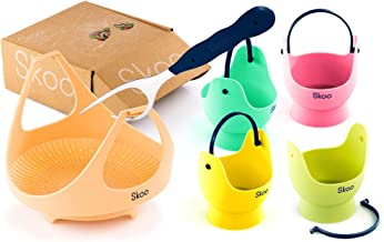 Skoo Egg Poacher Cups + Vegetable Steamer Basket + Fork + Free Ebook - Silicone Egg Cooker and Food Steamer Set - For Stove Top, Instant Pot and Microwave (Various Colors)